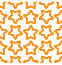 Seamless orange white pattern with stars vector