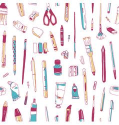 seamless pattern with stationery drawing utensils vector image