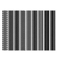 seamless tire tracks tread marks set vector image