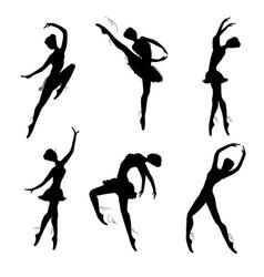 Set ballet dancers silhouettes vector