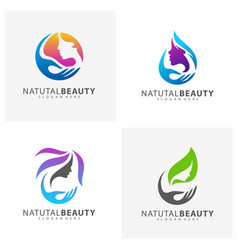 Set of beauty care logo design element vector