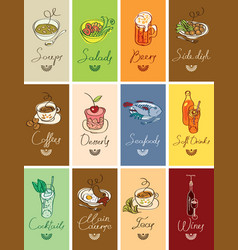 set of business cards with different dishes vector image
