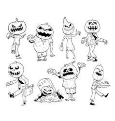 set of cute hand drawing halloween pumpkin zombie vector image