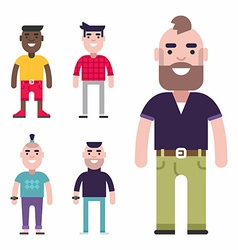 Set of Male Avatars Flat Style Fashion and vector