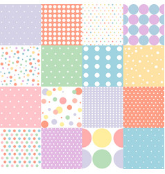 set of seamless dots pattern in pastel colors vector image