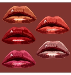 Set red the girl of lips A vector
