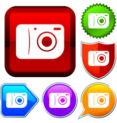 Set shiny icon series on buttons camera vector