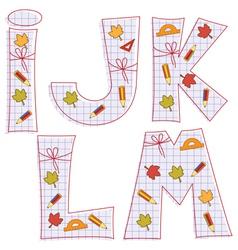 Sheet alphabet Letter I J K L M vector