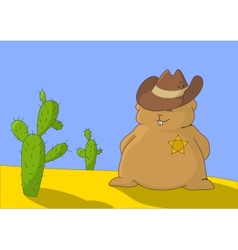 Sheriff marmot with two cactuses vector