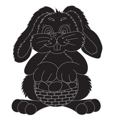 silhouette easter bunny with bast basket vector image