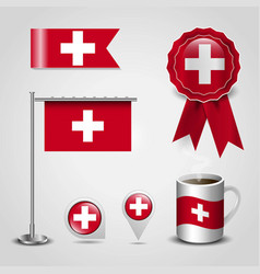 Switzerland country flag place on map pin steel vector