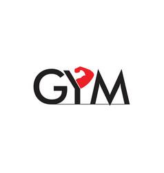 text gym strong arm symbol logo vector image