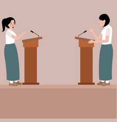 Two high school girl debate on stage podium public vector