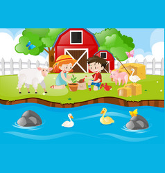 Two kids planting tree by the river vector