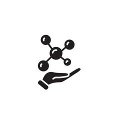 web icon molecule in hand black on white vector image