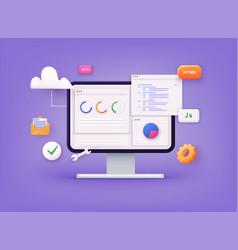 Website programming and coding web development vector