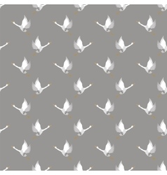 White geese seamless pattern vector
