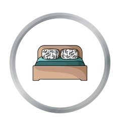 Wooden double bed icon in cartoon style isolated vector