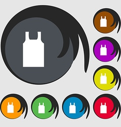 Working vest icon sign Symbols on eight colored vector