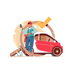 young handsome man using smartphone for car vector image