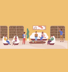 young people at modern public library flat vector image