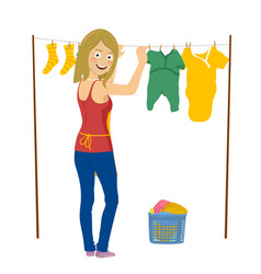 Young woman hanging up laundry isolated on white vector