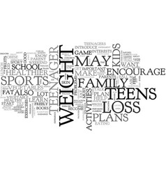 a guide for parents on weight loss plan for teens vector image