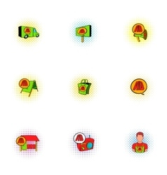 Advertising icons set pop-art style vector image vector image