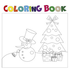 coloring book christmas thematics vector image vector image