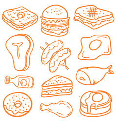 food various of doodles vector image vector image