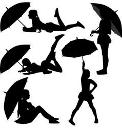girl dance with umbrella vector image vector image