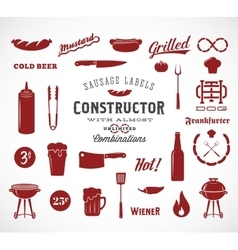 Sausage Flat Icons and Typography Design vector image vector image