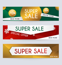 Set of sale xmas banners design discounts and vector