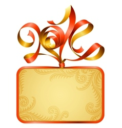 gift box frame and ribbon in the shape of 2014 vector image