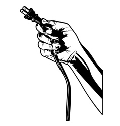 hand with electrical plug vector image vector image