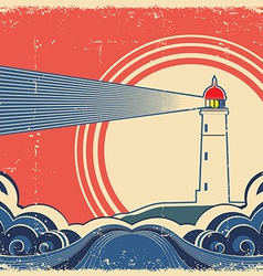 Seascape with lighthouse Grunge poster vector image vector image