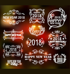 vintage neon frames for happy new year vector image vector image