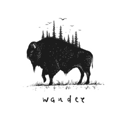 Abstract buffalo with forest on him vector image vector image