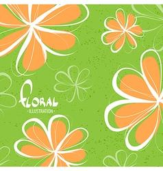 Bright schematic orange flowers vector image vector image