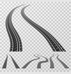 Curved tire tracks stretching to the horizon vector