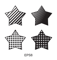 Dots star icon set vector image