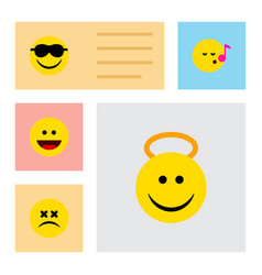 flat icon expression set of cross-eyed face angel vector image