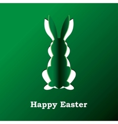 Paper rabbit on a green background vector image vector image