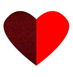 red heart with black half sign 3112 vector image vector image