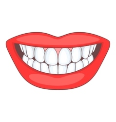 Smile with white tooth icon cartoon style vector image