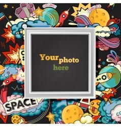 space photo frame vector image