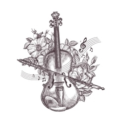 Vintage fiddle Hand-drawn retro the violin and vector image vector image