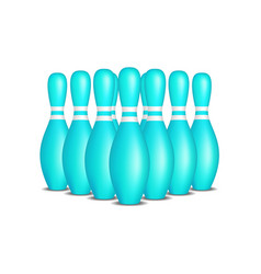 bowling pins in turquoise design with white stripe vector image vector image