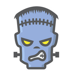 frankenstein filled outline icon halloween scary vector image vector image