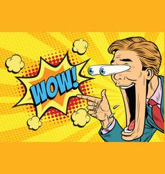 hyper expressive reaction cartoon wow man face vector image vector image